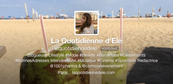 Profil twitter Quotidienne d'Ele