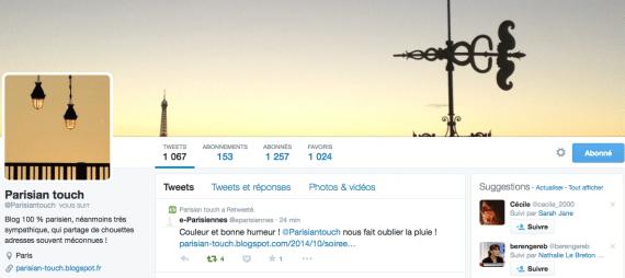 Profil Twitter Parisian Touch