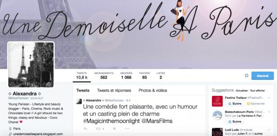 Une profil Twitter Miss Parisian