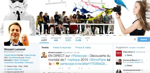 Profil Twitter Vincent Lumaret