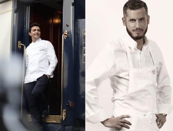 A gauche : le chef étoilé Yannick Alléno/ A droite : le chef pâtissier Yann Couvreur